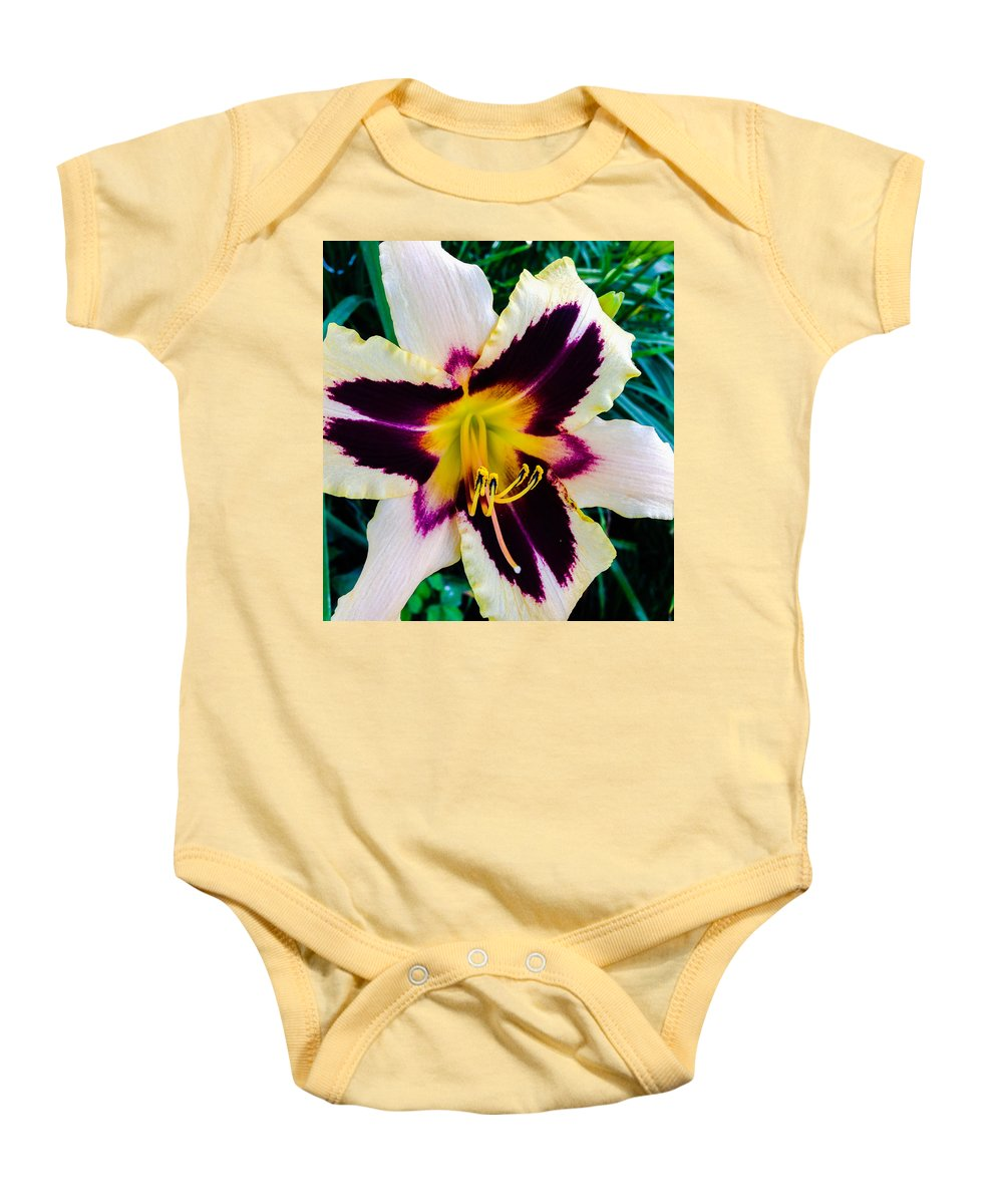 Macro Baby Onesie featuring the photograph Cream And Purple Lily Macro by Jennifer Kohler