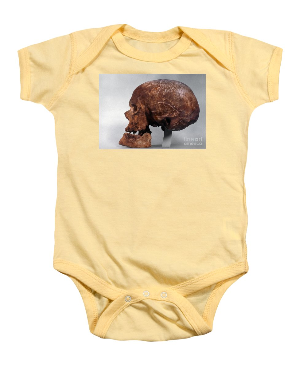 Artifact Baby Onesie featuring the photograph Cro-magnon Skull by Granger