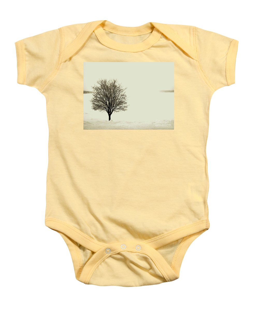 White Baby Onesie featuring the photograph Crystal Lake In Winter by Desiree Paquette