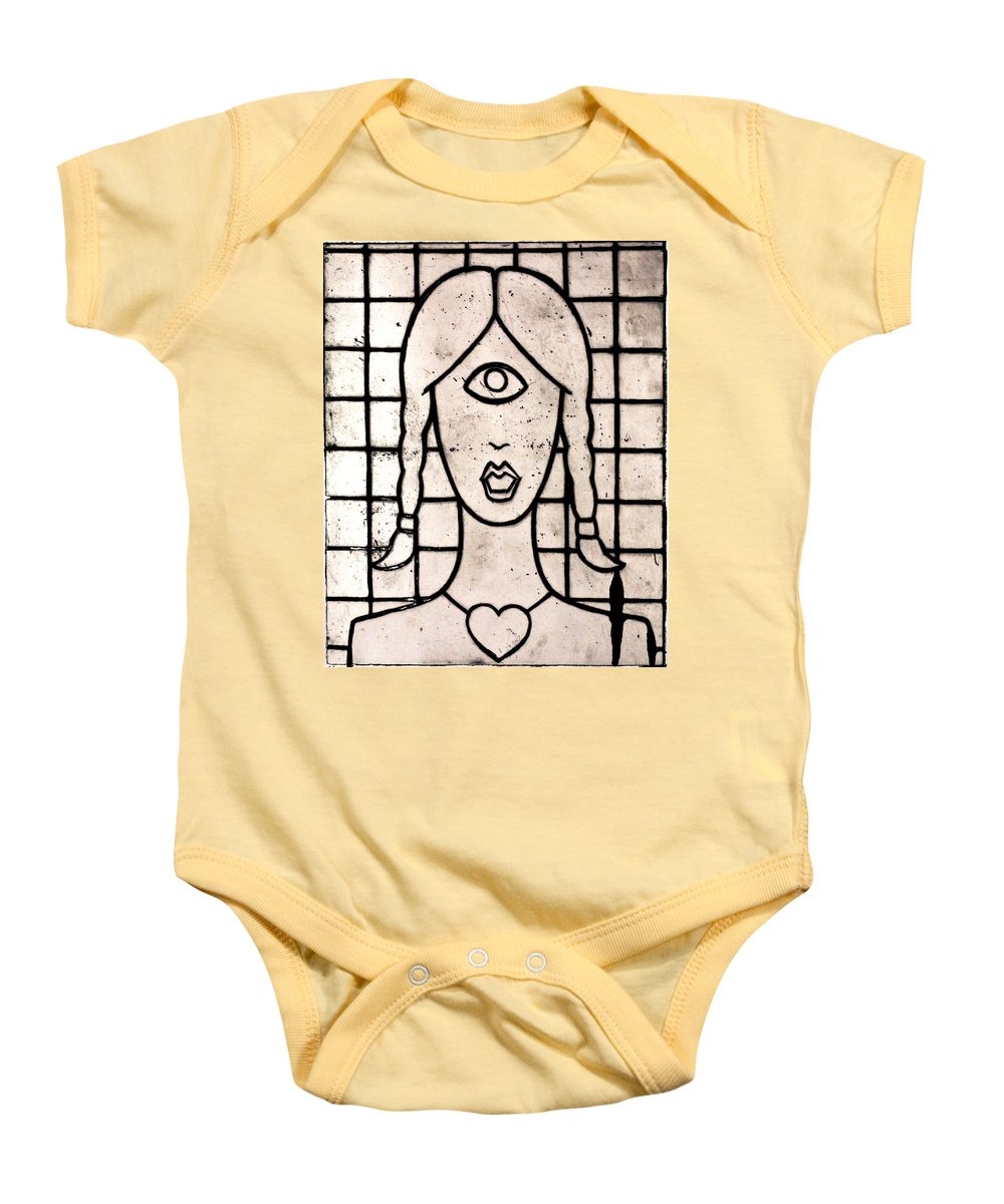 Clay Baby Onesie featuring the painting Cyclops by Thomas Valentine
