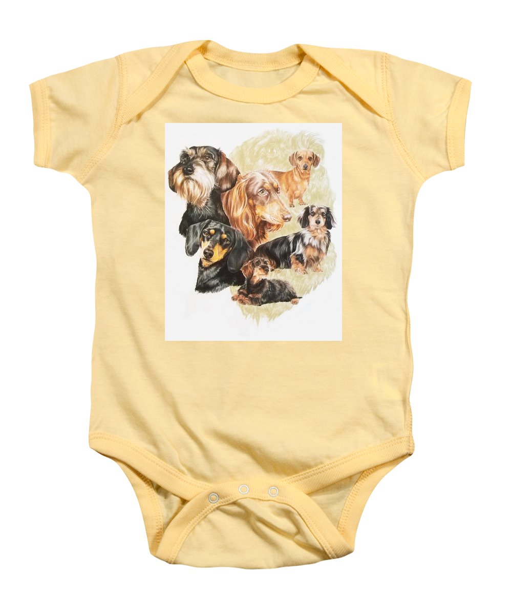 Purebred Dog Baby Onesie featuring the drawing Dachshund W/ghost by Barbara Keith