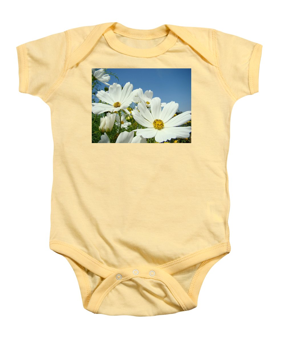 Daisy Baby Onesie featuring the photograph Daisies Flowers Art Prints White Daisy Flower Gardens by Baslee Troutman