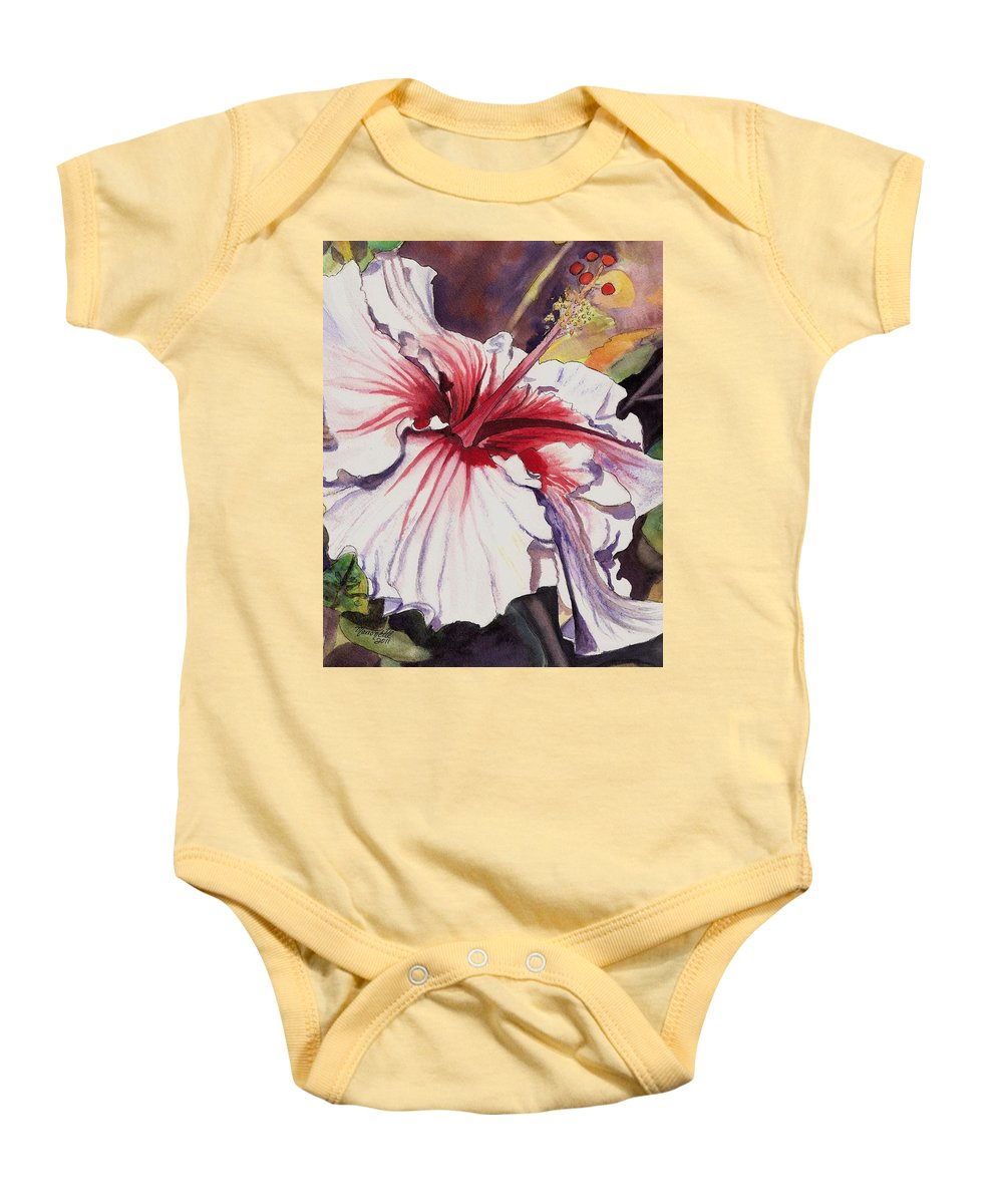 Hibiscus Art Baby Onesie featuring the painting Dancing Hibiscus by Marionette Taboniar