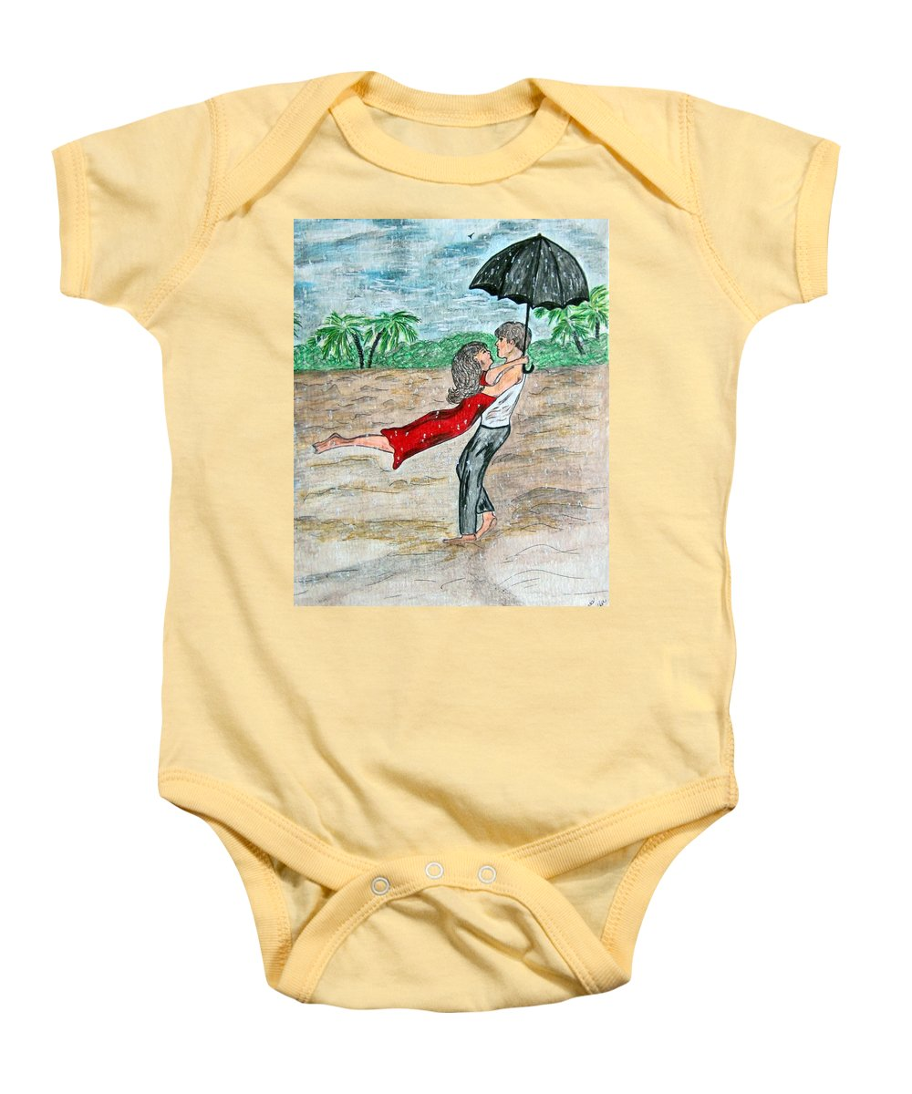 Dancing Baby Onesie featuring the painting Dancing In The Rain On The Beach by Kathy Marrs Chandler