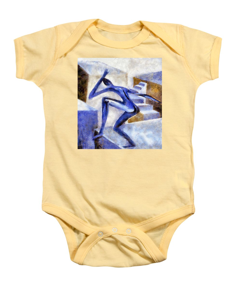 Conceptual Baby Onesie featuring the painting Dancing Off The Edge Of The World by Michelle Calkins