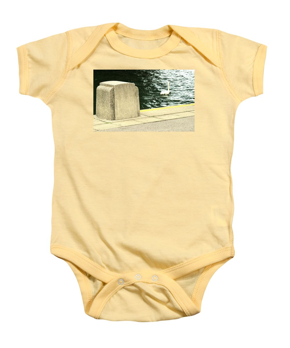 Swan Baby Onesie featuring the photograph Danube River Swan by Ian MacDonald
