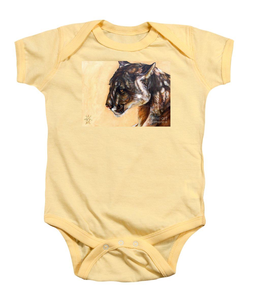 Catamount Baby Onesie featuring the painting Dappled by J W Baker