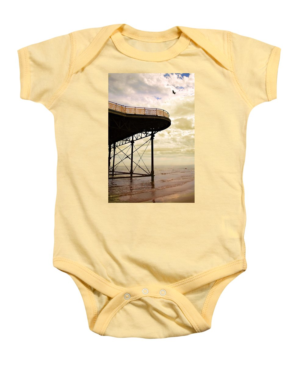 Victoria Baby Onesie featuring the photograph Dawn At Colwyn Bay Victoria Pier Conwy North Wales Uk by Mal Bray