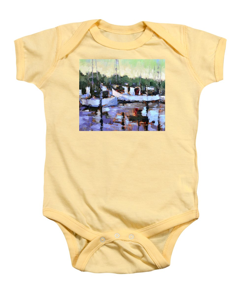Coastal Baby Onesie featuring the painting Day's End by Lon Brauer