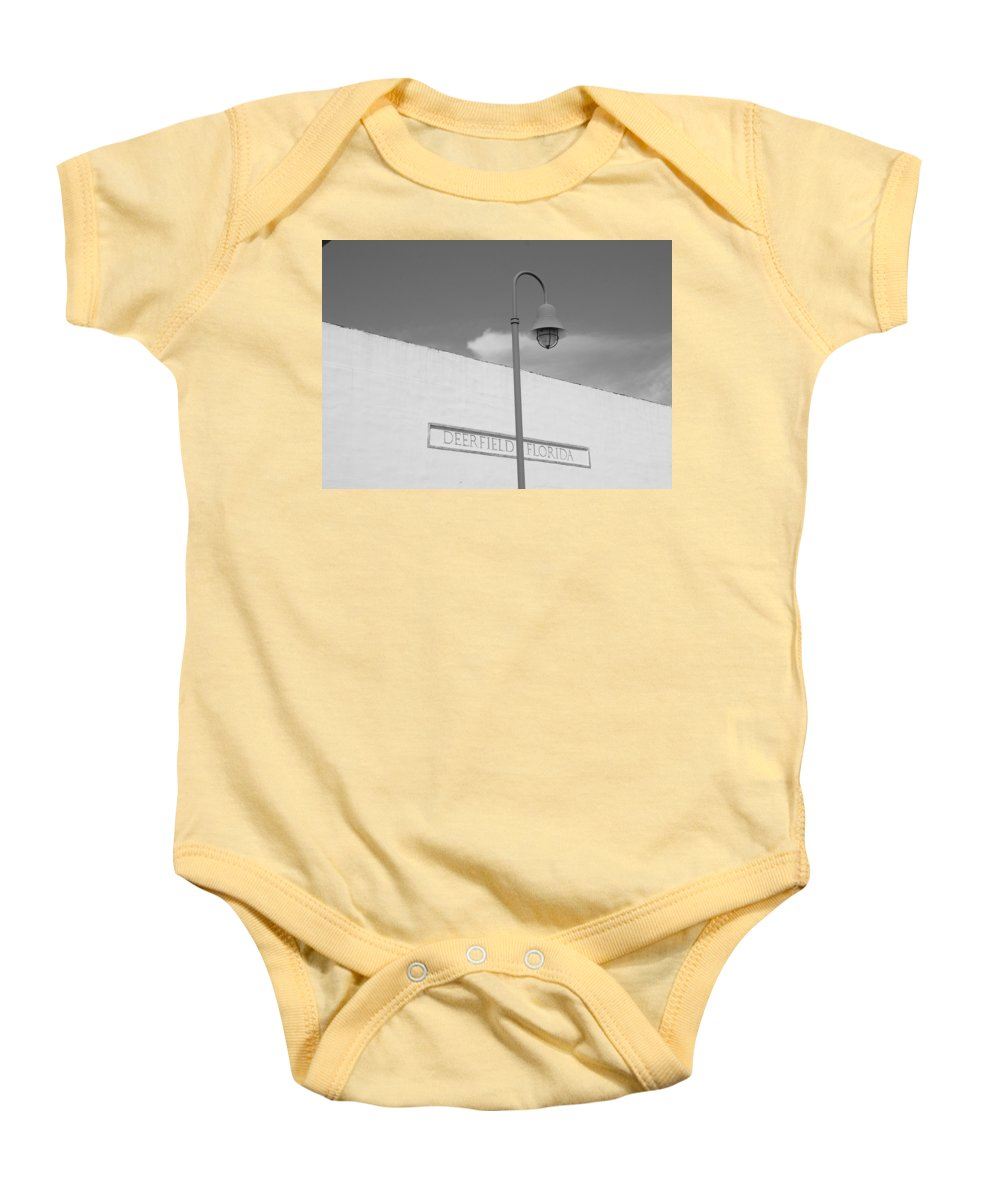 Black And White Baby Onesie featuring the photograph Deerfield Florida by Rob Hans