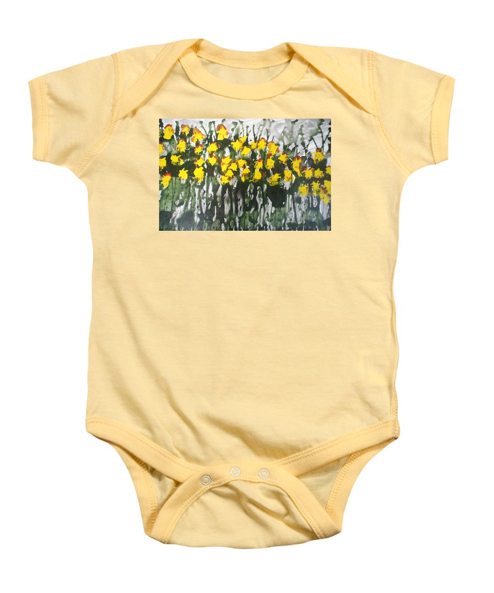 Flowers Baby Onesie featuring the painting Divine Blooms-21085 by Baljit Chadha