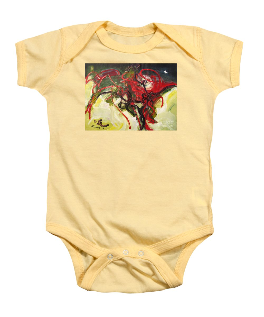 Abstract Paintings Paintings Abstract Art Paintings Baby Onesie featuring the painting Don't Bother Me by Seon-Jeong Kim