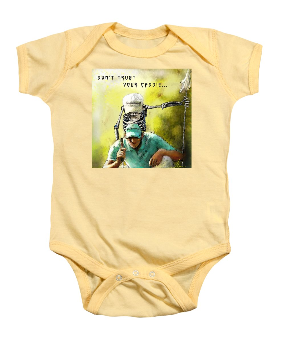 Halloween Baby Onesie featuring the painting Dont Trust Your Caddie by Miki De Goodaboom