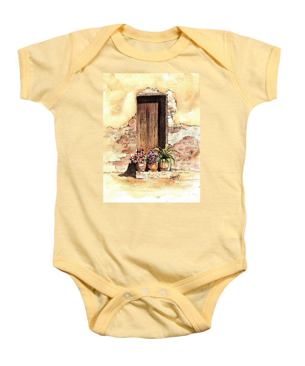 Door Baby Onesie featuring the painting Door With Flowers by Sam Sidders