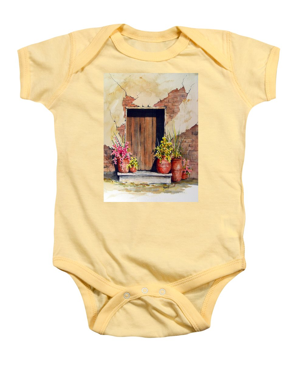 Flowers Baby Onesie featuring the painting Door With Pots by Sam Sidders