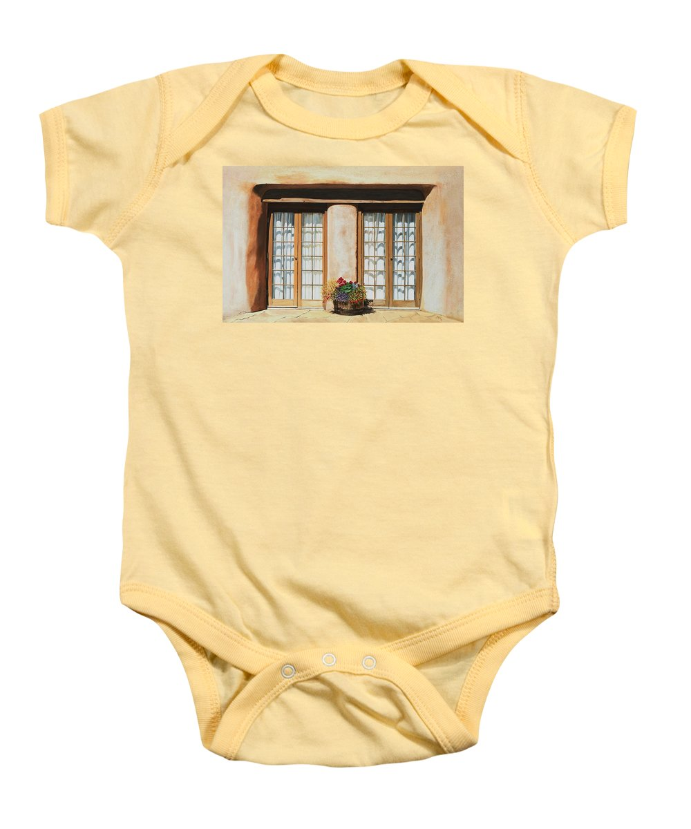 Usa Baby Onesie featuring the painting Doors Of Santa Fe by Mary Rogers