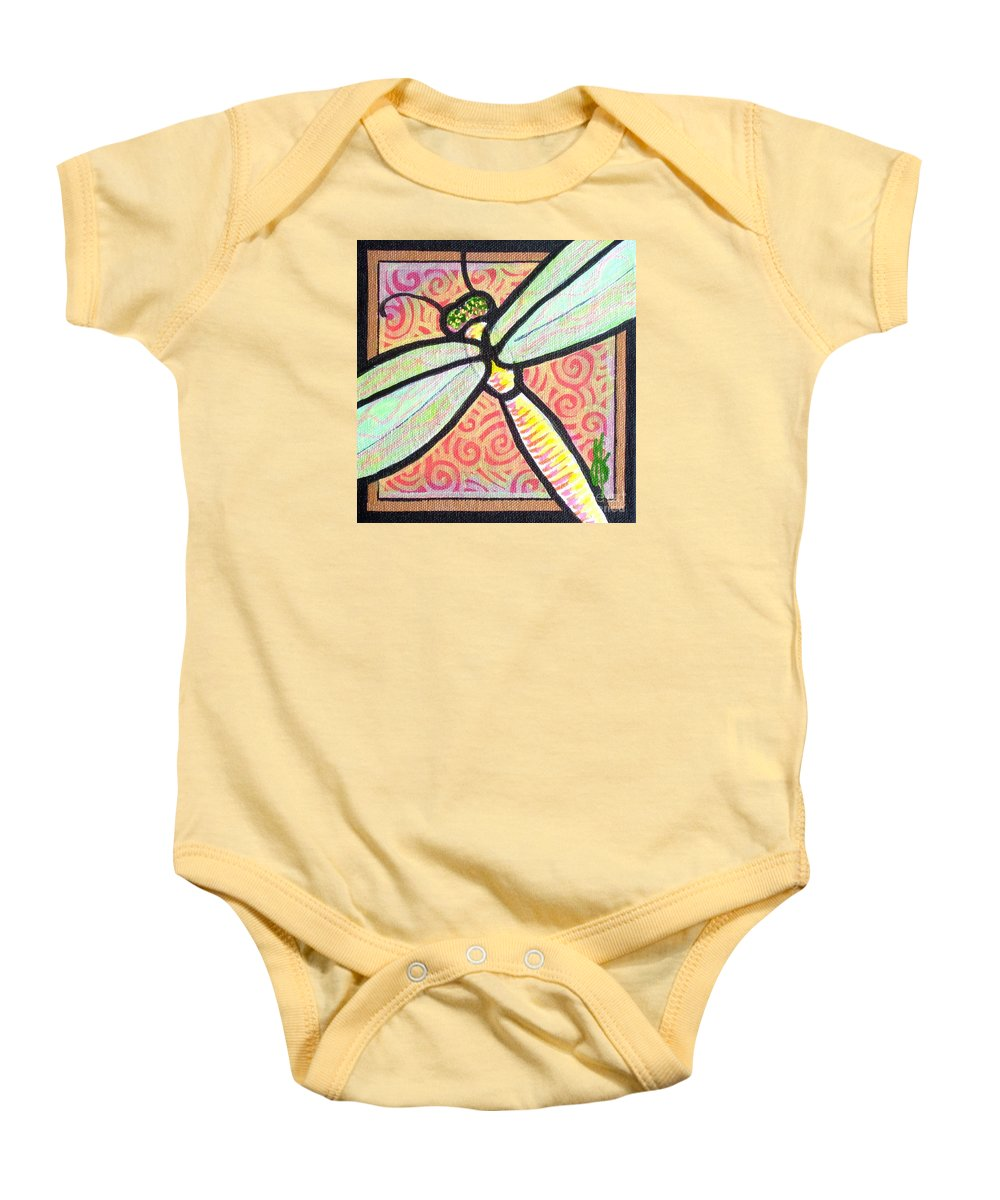 Dragonfly Baby Onesie featuring the painting Dragonfly Fantasy 3 by Jim Harris
