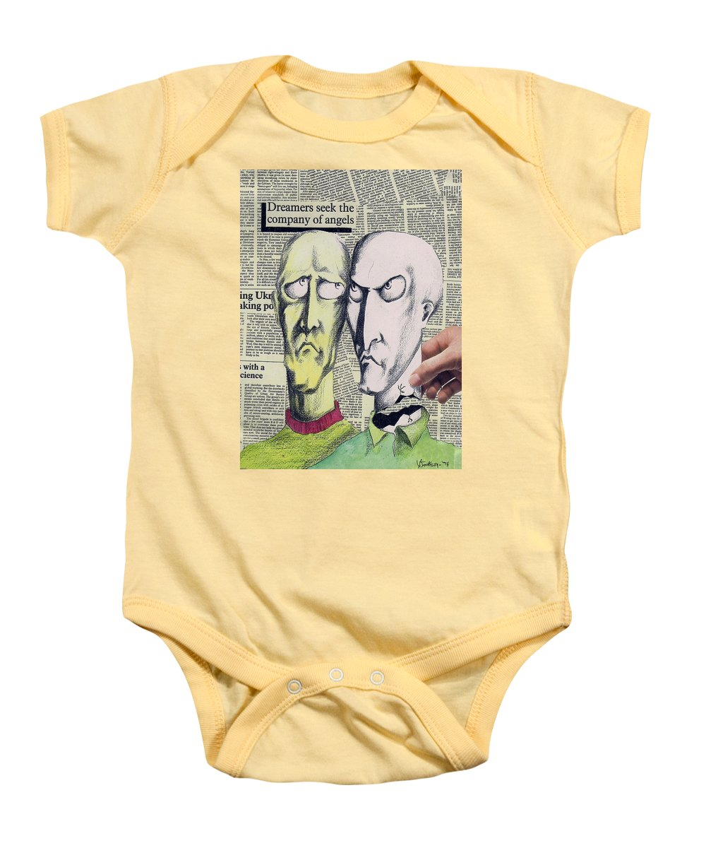 Dreamers Angels Faces Baby Onesie featuring the mixed media Dreamers by Veronica Jackson