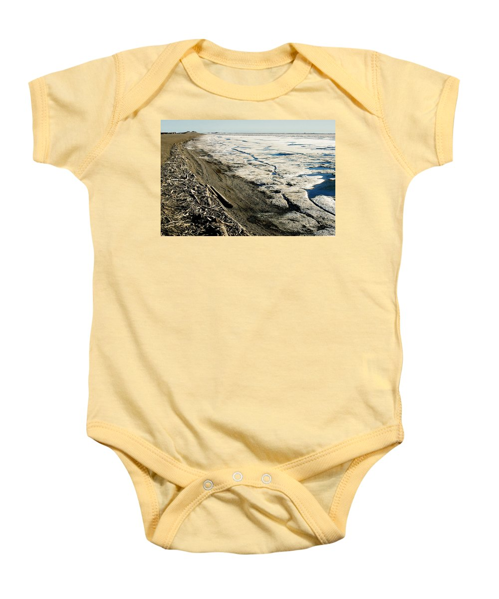 Drift Wood Baby Onesie featuring the photograph Driftwood On The Frozen Arctic Coast by Anthony Jones