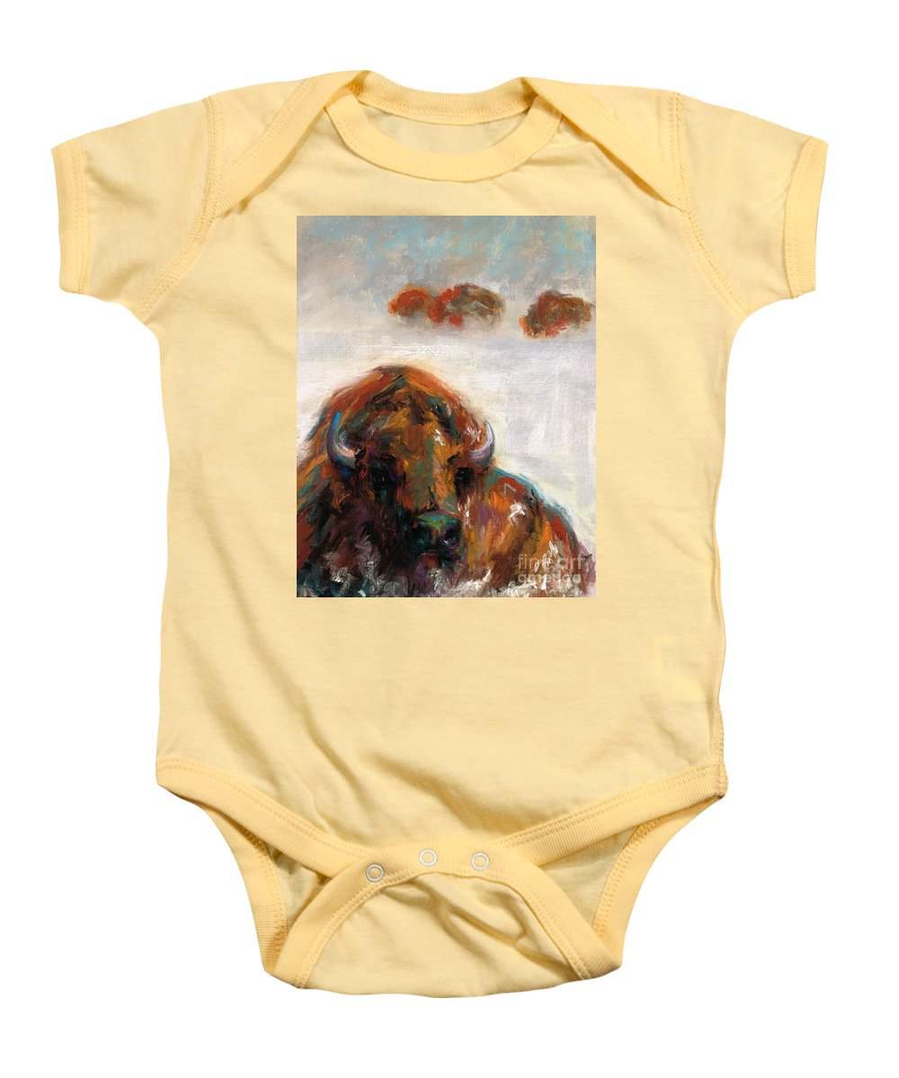 Buffalo Baby Onesie featuring the painting Early Morning Snow by Frances Marino