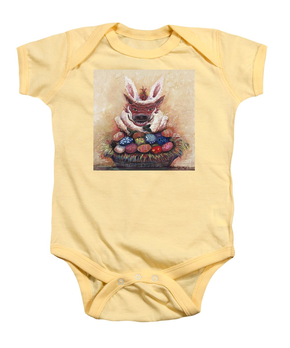 Easter Baby Onesie featuring the painting Easter Hog by Nadine Rippelmeyer