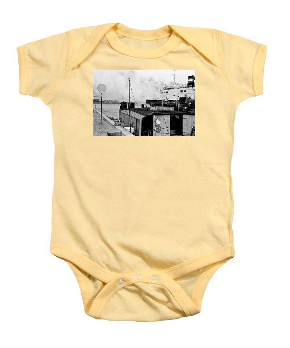 B&w Baby Onesie featuring the photograph Elsinore Port Denmark by Lee Santa