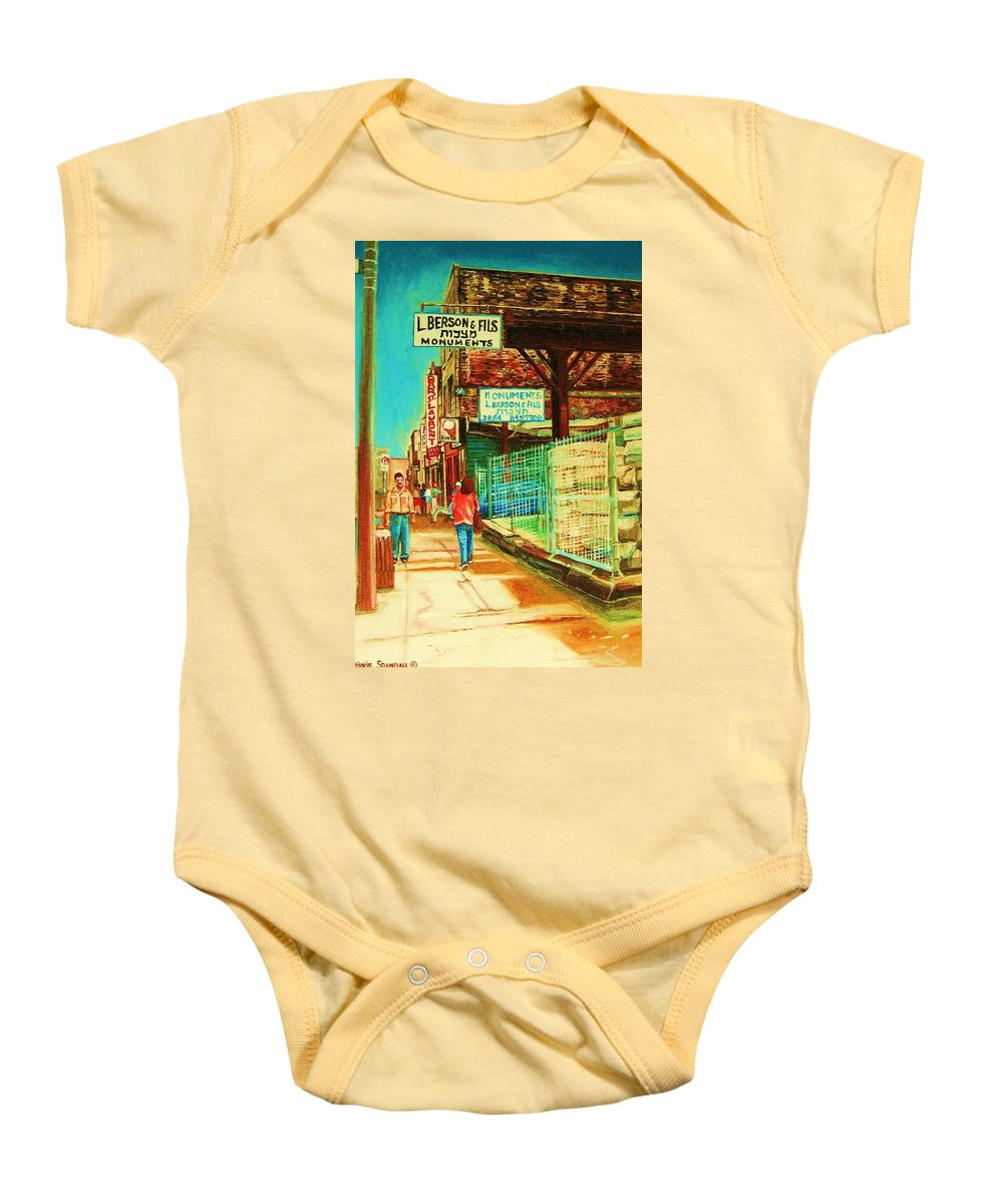 Berson Monuments Baby Onesie featuring the painting End Of Days by Carole Spandau