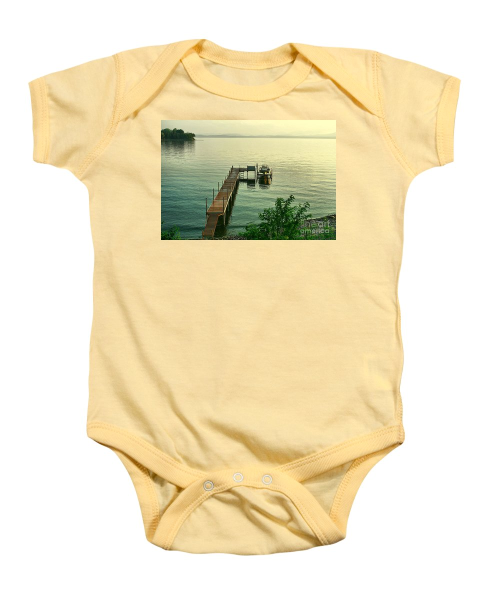 Lake Baby Onesie featuring the photograph Evening In Charlotte by Deborah Benoit