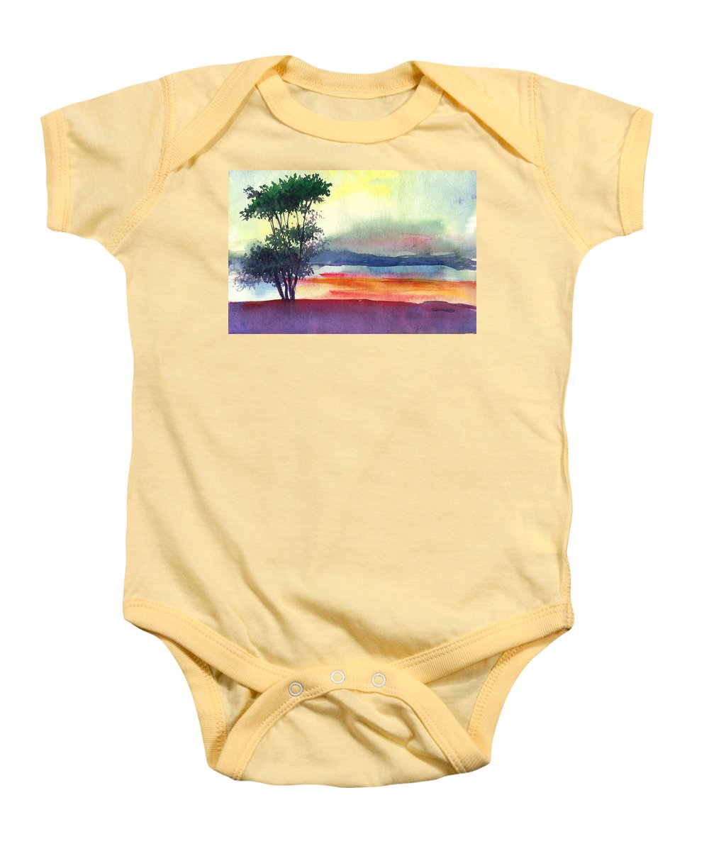 Water Color Baby Onesie featuring the painting Evening Lights by Anil Nene