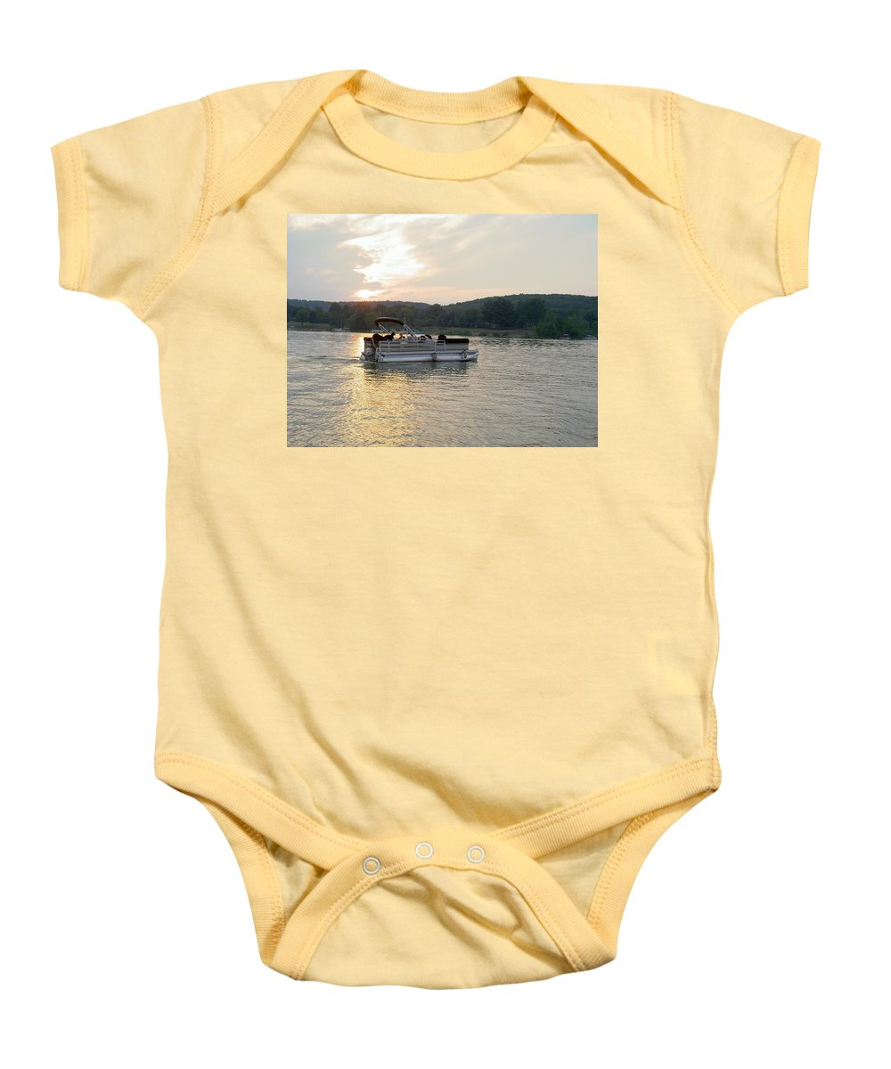 Boating Baby Onesie featuring the photograph Evening On The Lake by Carolyn Jacob