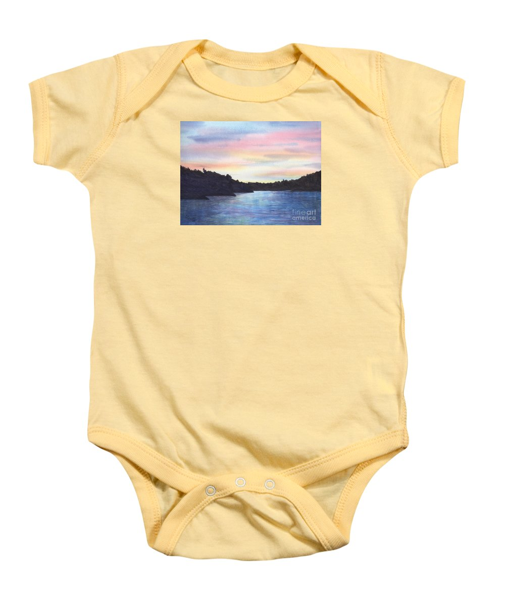 Sunset Baby Onesie featuring the painting Evening Silhouette by Lynn Quinn