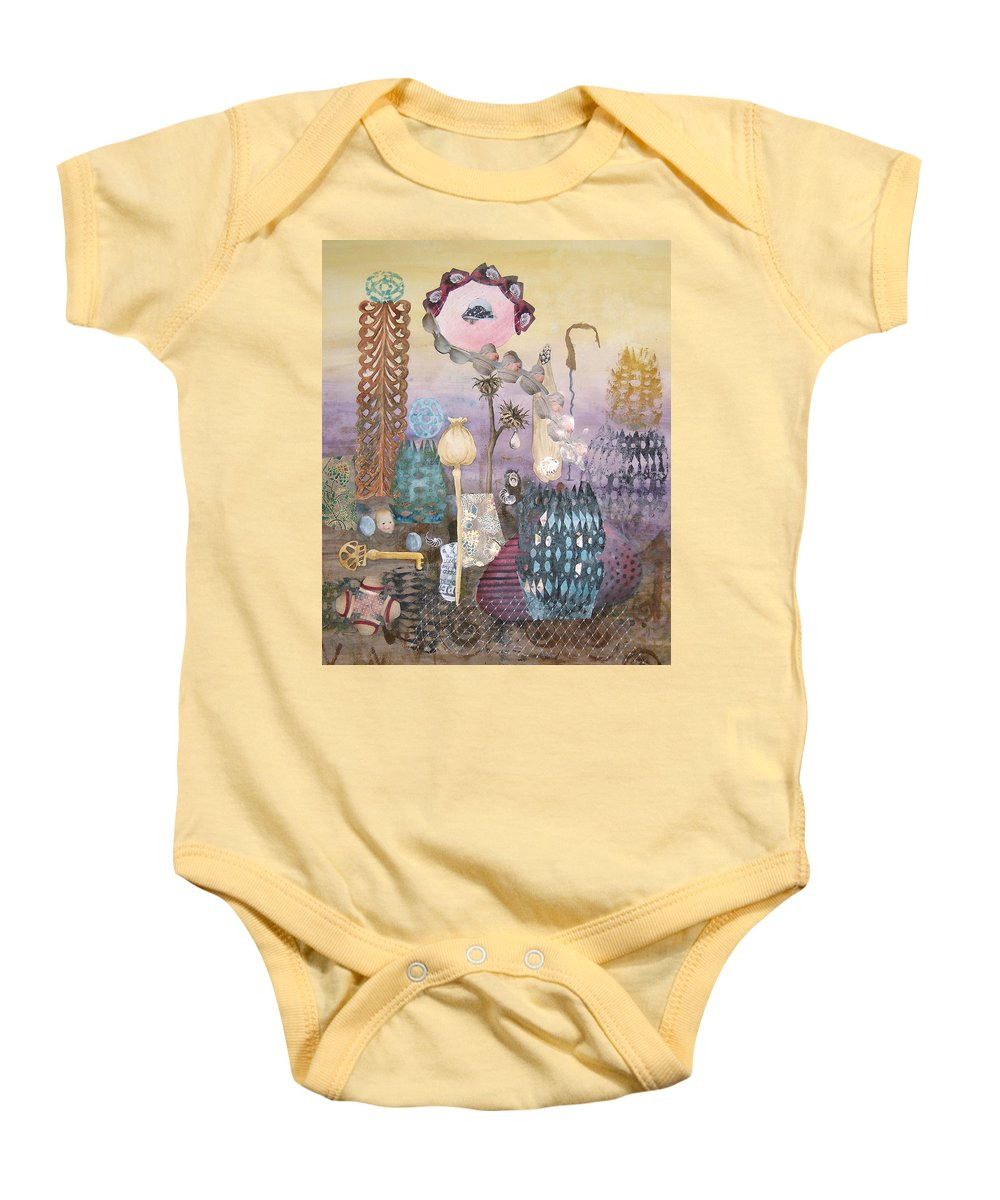 Abstract Baby Onesie featuring the painting Eye Has It by Valerie Meotti