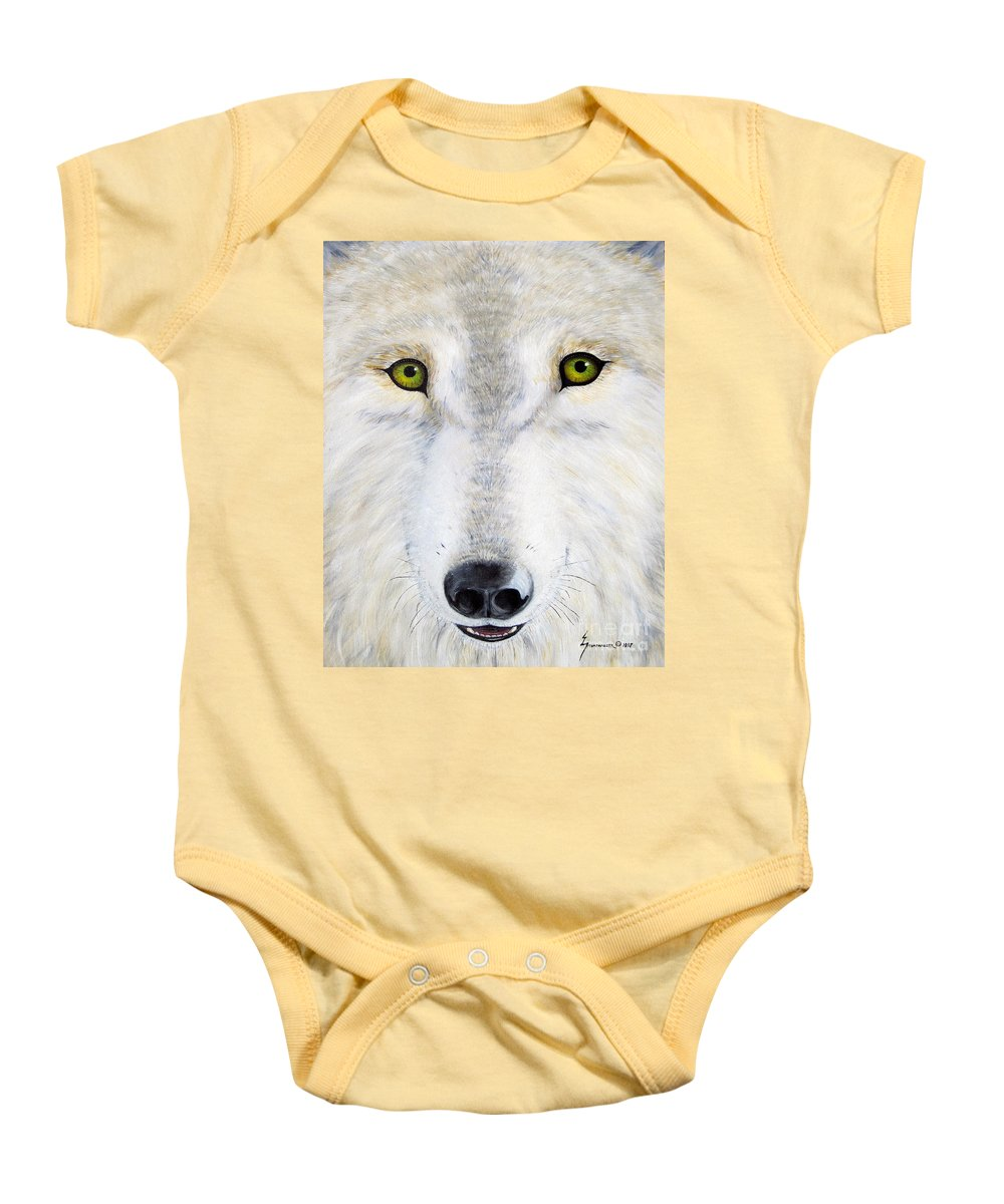 Wolf Baby Onesie featuring the painting Eyes Of The Wolf by Jerome Stumphauzer