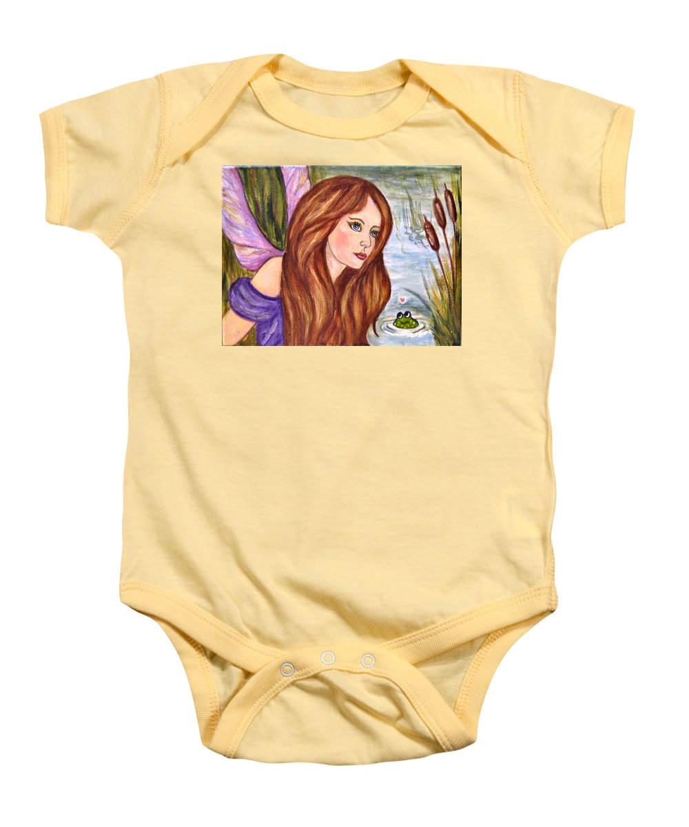 Swamp Fairy Baby Onesie featuring the painting Fairy by Frances Gillotti