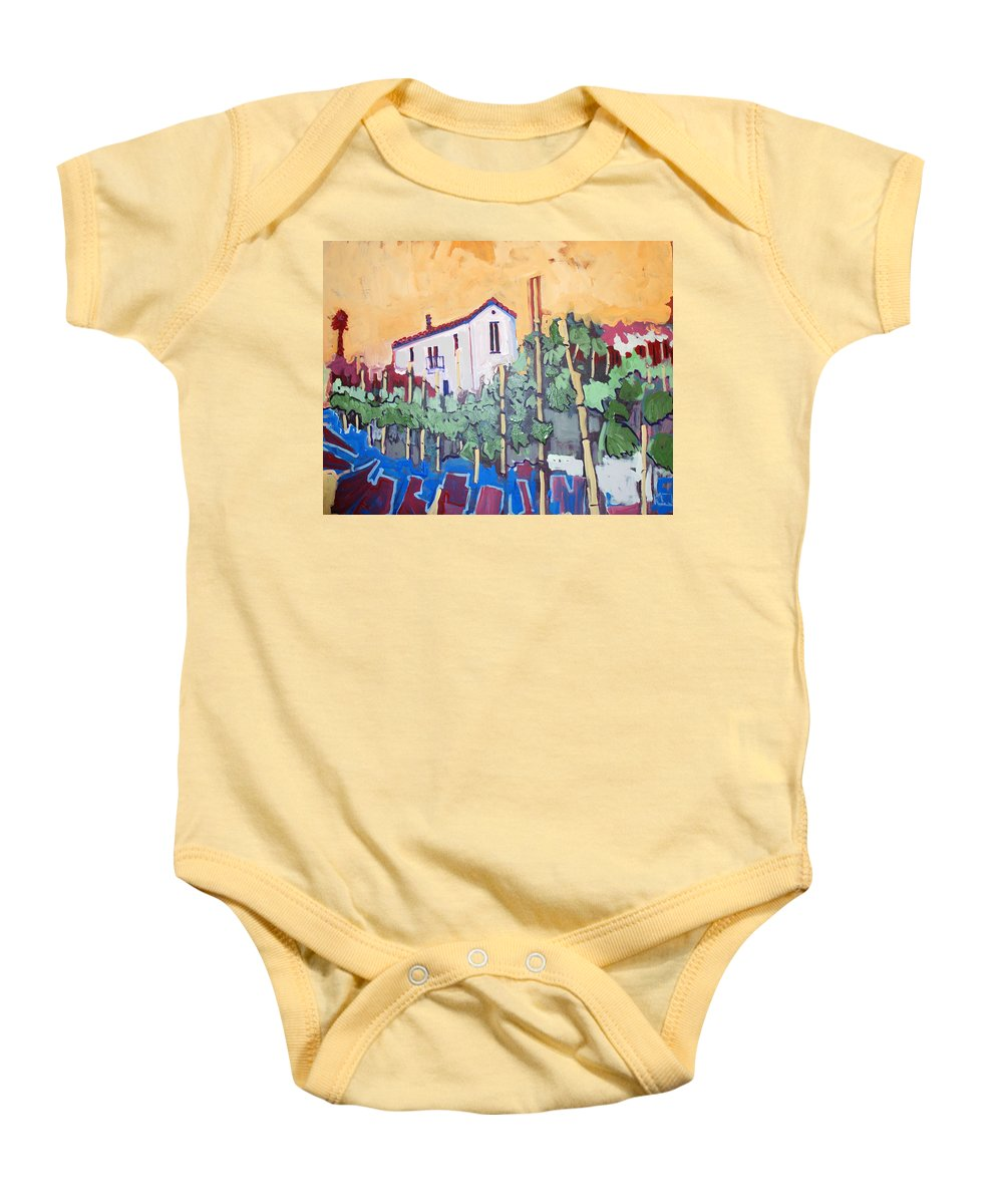 Farm House Baby Onesie featuring the painting Farm House by Kurt Hausmann