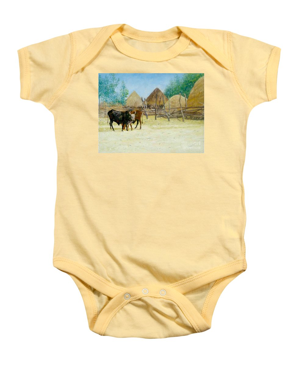 Farmer Baby Onesie featuring the painting Farmer by Yoseph Abate