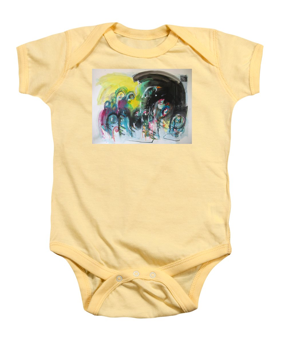 Fiddleheads Painting Baby Onesie featuring the painting Fiddleheads 105- Original Abstract Colorful Landscape Painting For Sale Red Blue Green by Seon-Jeong Kim