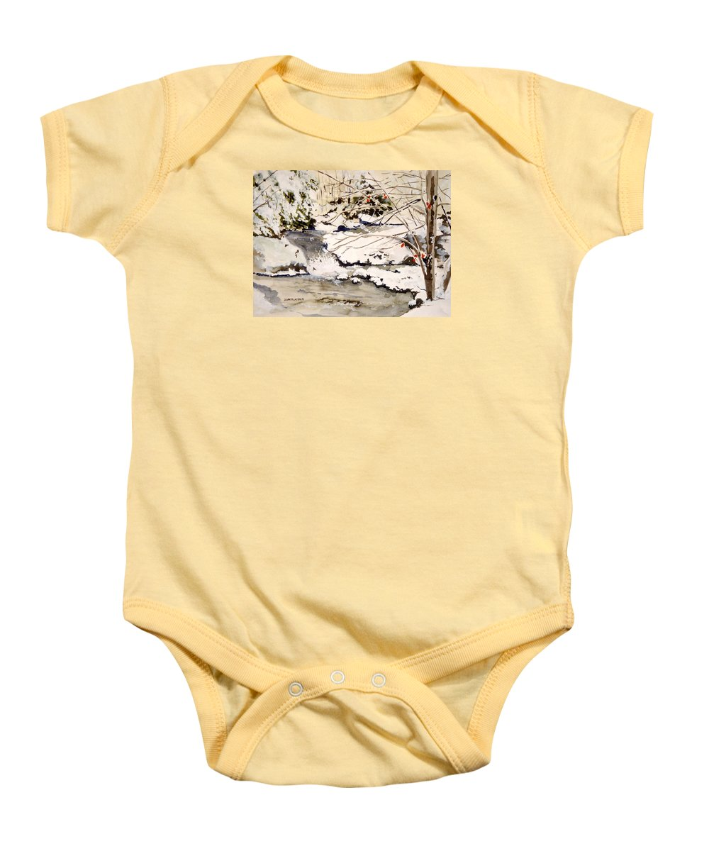 Winter Scene Baby Onesie featuring the painting First Snowfall by Jean Blackmer