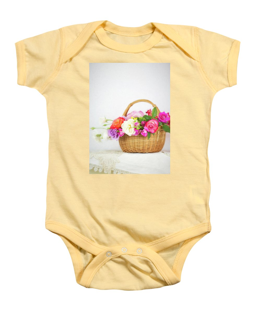 Roses Baby Onesie featuring the photograph First Spring Garden Roses by Susan Gary