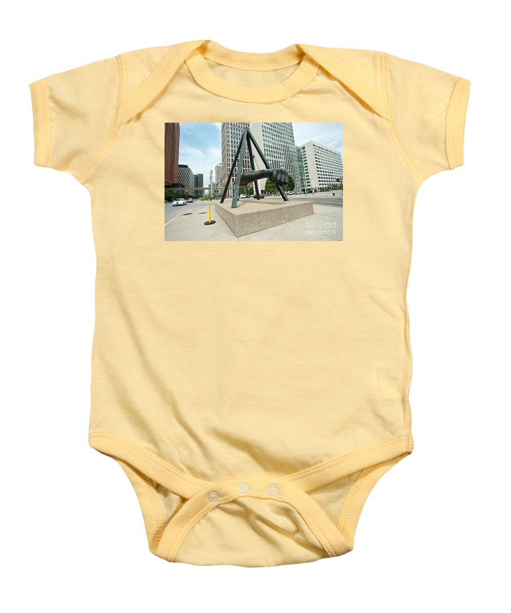 Detroit Baby Onesie featuring the photograph Fist 2 by Steven Dunn