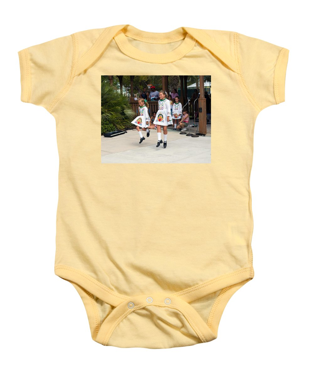 Young; Youth; Girl; Maid; Maiden; Irish; Dance; Dancer; Competition; Ireland; Gaelic; Celt; Celtic; Baby Onesie featuring the photograph Florida Irish Dancers by Allan Hughes