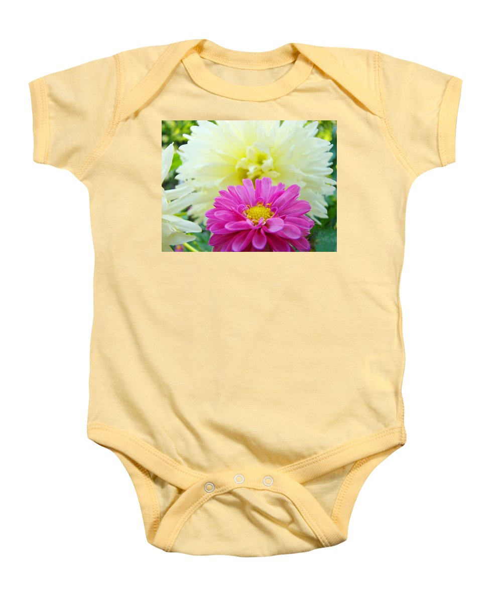 Dahlia Baby Onesie featuring the photograph Flower Art Print White Pink Dahlia Floral Canvas Baslee Troutman by Baslee Troutman