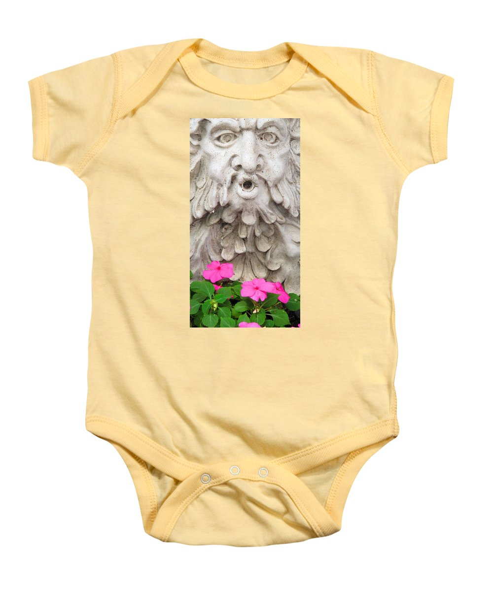 Statue Baby Onesie featuring the photograph Flower Blower by Ian MacDonald