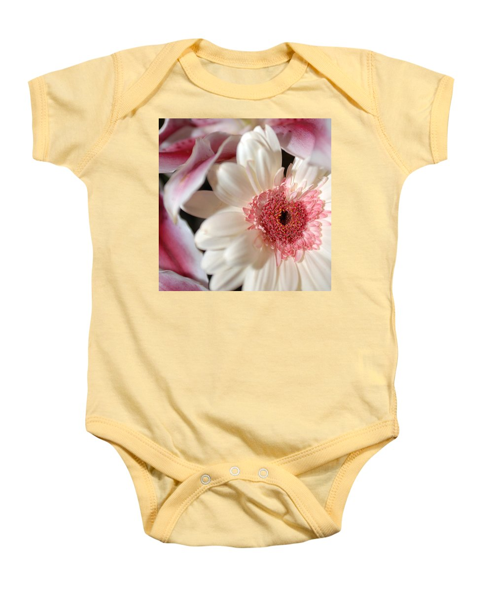 Flower Baby Onesie featuring the photograph Flower Pink-white by Jill Reger
