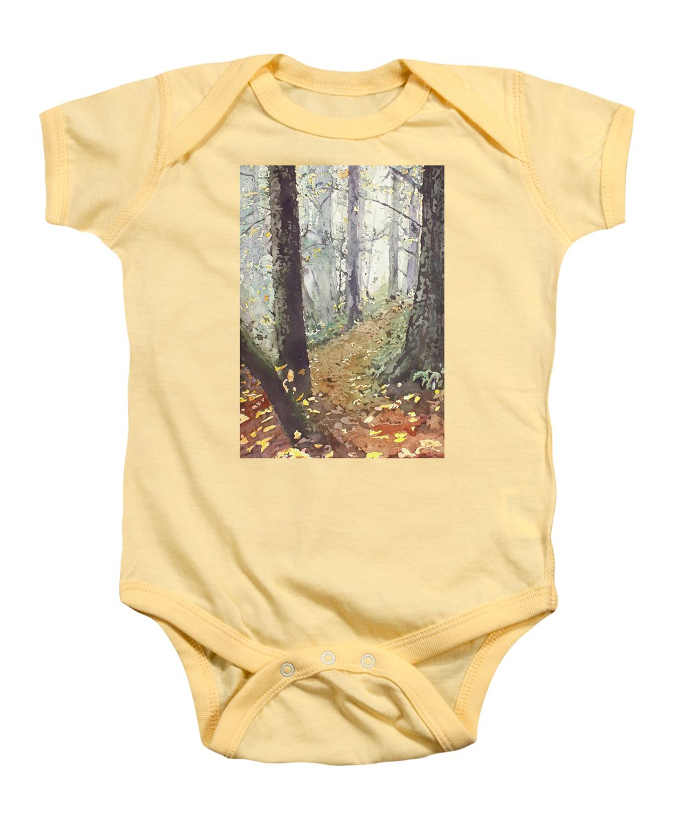 Oregon Baby Onesie featuring the painting Foggy Path by Jenny Armitage