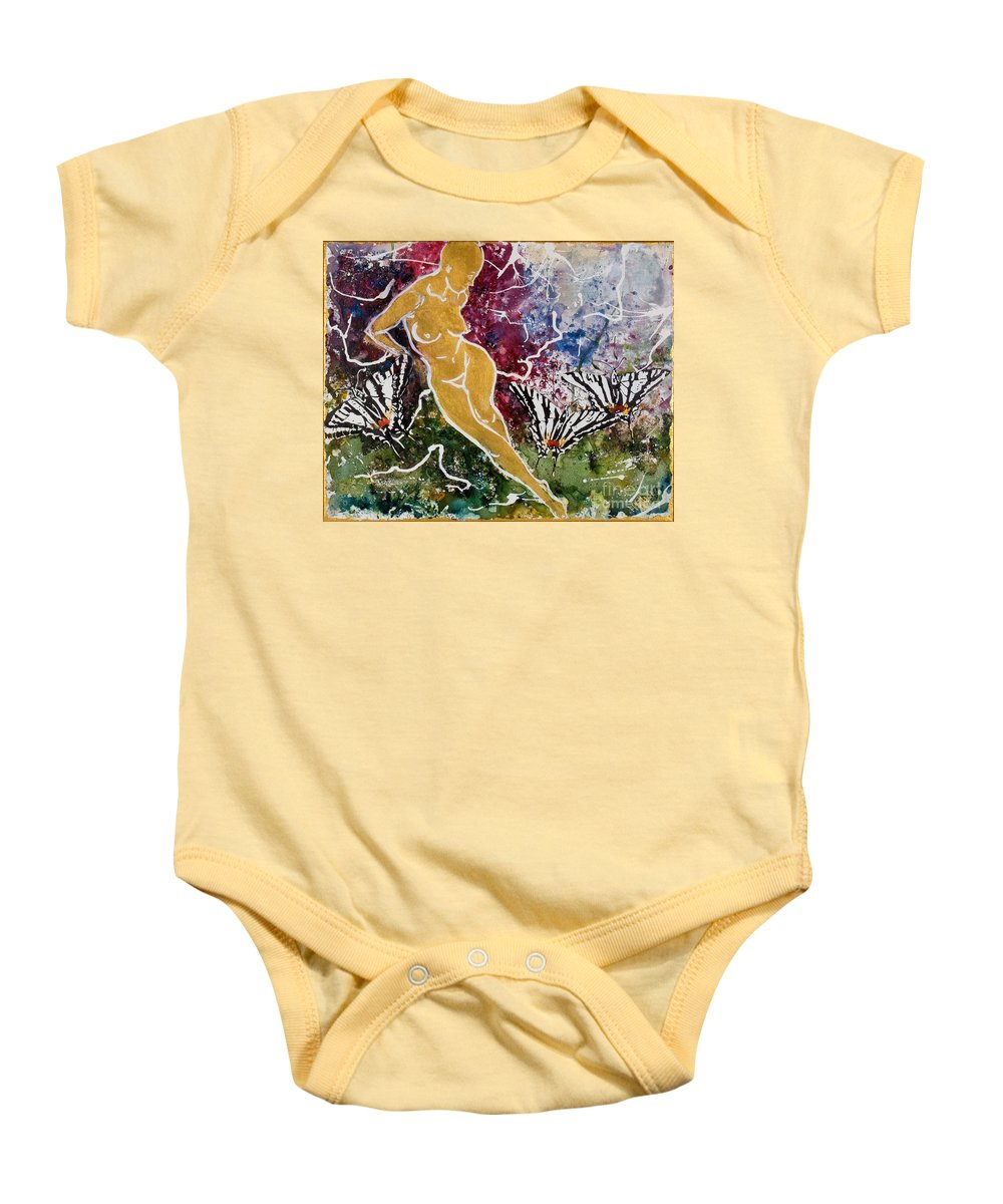 Nude Baby Onesie featuring the painting Freedom by Elisabeta Hermann
