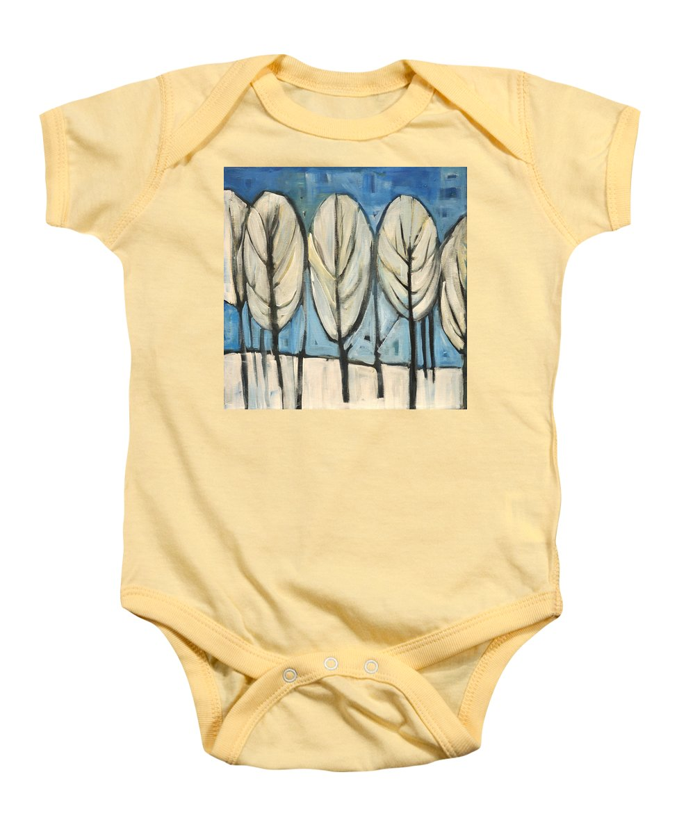 Frost Baby Onesie featuring the painting Frosted Trees by Tim Nyberg