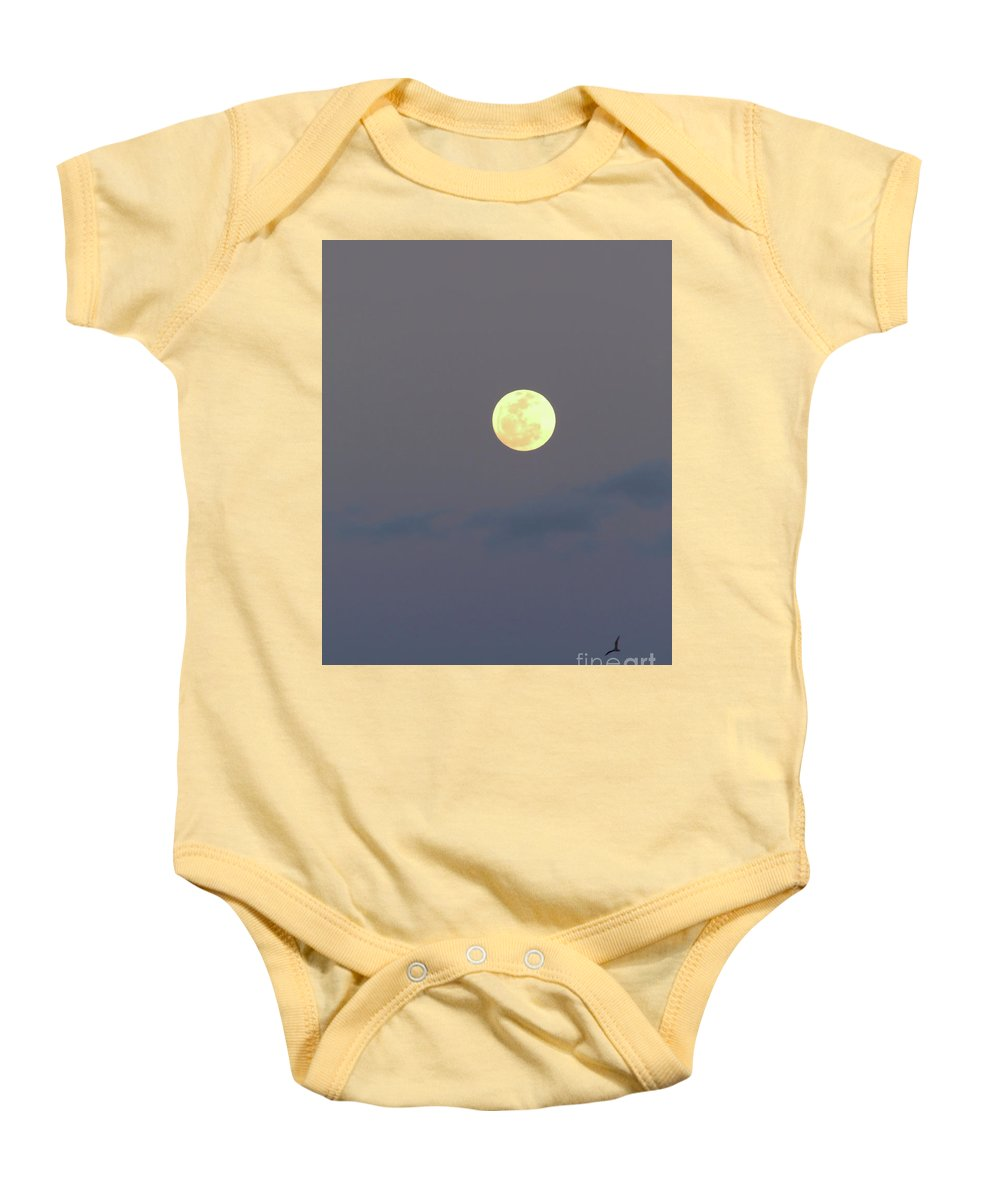 Moon Baby Onesie featuring the photograph Full Moon Over Amelia Island by D Hackett