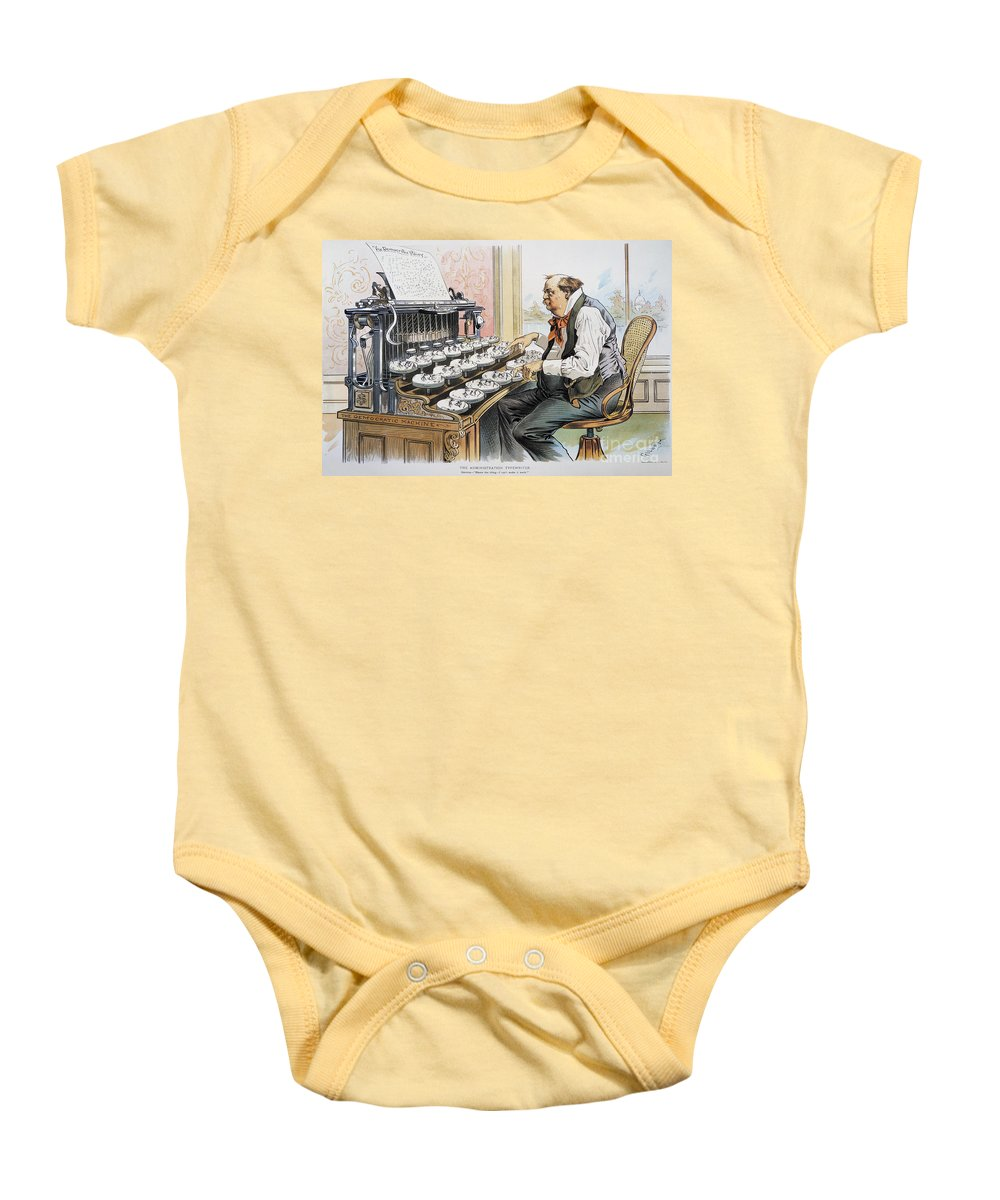 1893 Baby Onesie featuring the photograph G. Cleveland Cartoon, 1893 by Granger