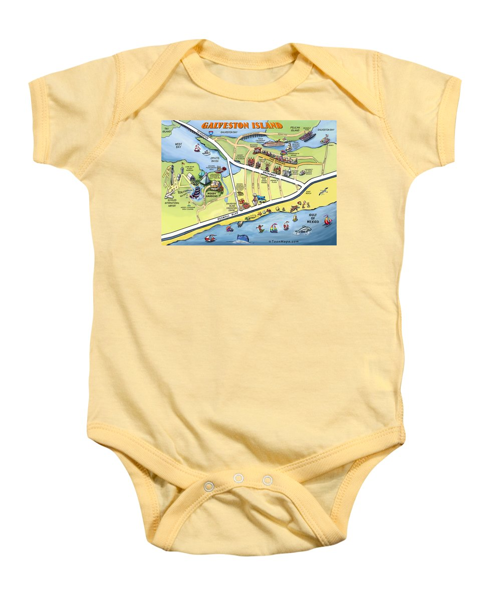Galveston Baby Onesie featuring the digital art Galveston Texas Cartoon Map by Kevin Middleton